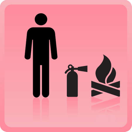 Icon of the person with the fire extinguisher near a fire  Vector