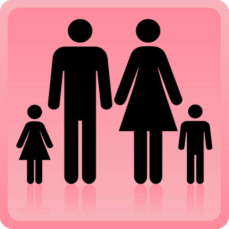 gents: Vector Man & Woman icon with children