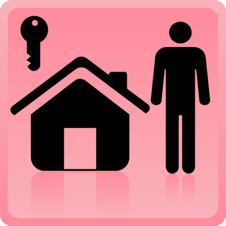Icon of the person near to the house with a key Stock Vector - 8956871