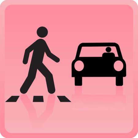 Het pictogram de persoon kruist de weg en de auto daalt het Vector Illustratie