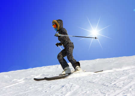 The young girl on skis goes from mountain in a spotty suit Stock Photo - 9033757