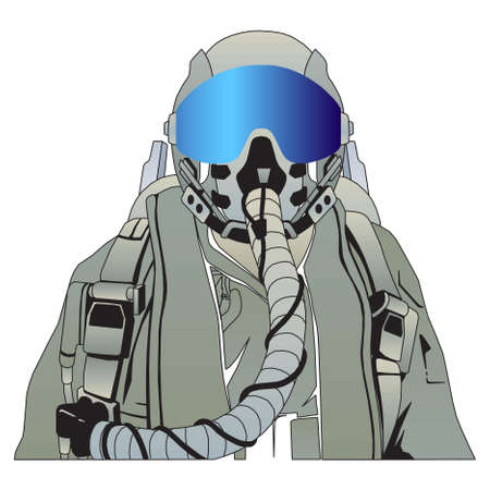 airman: The military pilot in the plane in a helmet Illustration