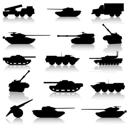 turret: Collection set of tanks of guns and military technology Illustration