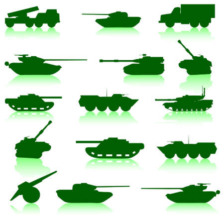 Collection set of tanks of guns and military technology Vector