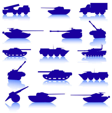 battle tank: Collection set of tanks of guns and military technology Illustration