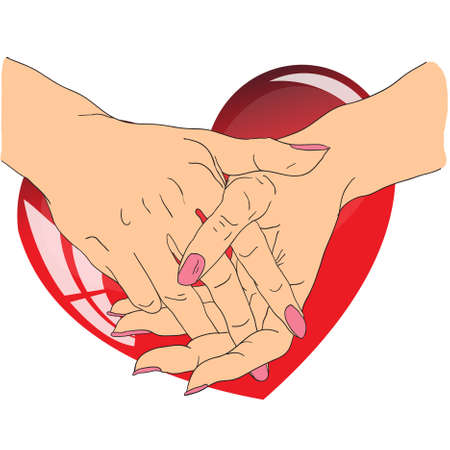 female hands with red heart Vector