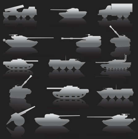 regiment: Collection set of tanks of guns and military technology Illustration
