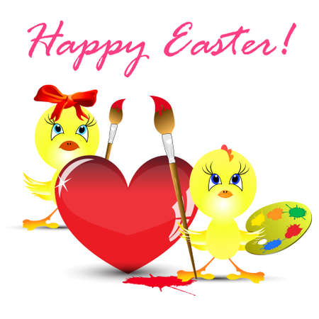 easter holiday illustration Two yellow chickens paint heart, isolated on white background Stock Vector - 9079656