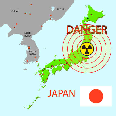 power station: Japan map with danger on an atomic power station