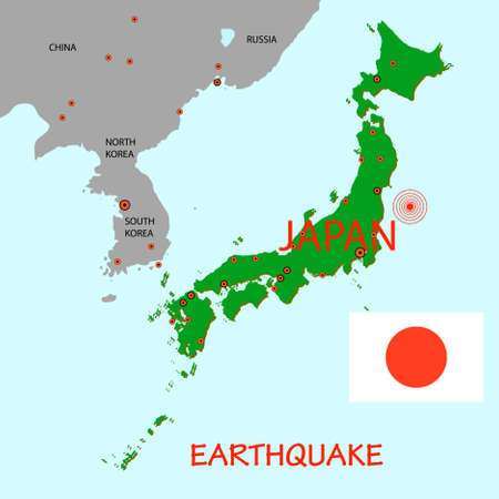 epicenter: Japan map with epicenter of strong earthquake