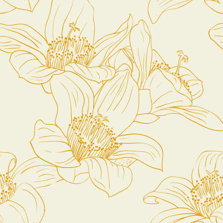 Seamless wallpaper with orchid flowers Stock Vector - 9128234