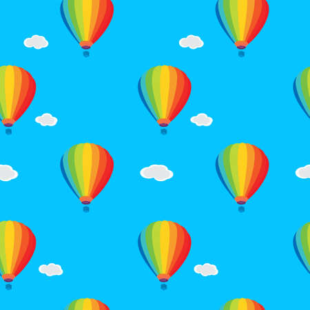 Seamless wallpaper balloons and clouds in the sky Vector