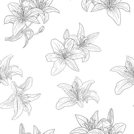 Beautiful seamless wallpaper with blooming lilies with on background, vector illustration