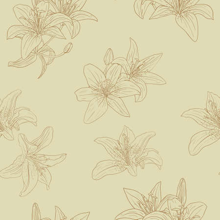 Beautiful seamless wallpaper with blooming lilies with on background, vector illustration Vector