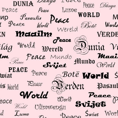 Peace . Seamless wallpaper with the word peace in different languages. Stock Vector - 9285475