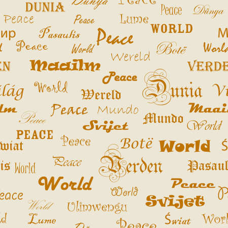 Peace . Seamless wallpaper with the word peace in different languages. Vector