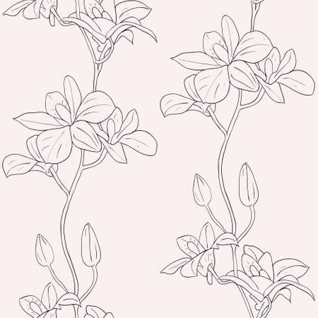 Vector seamless background with orchids Illustration