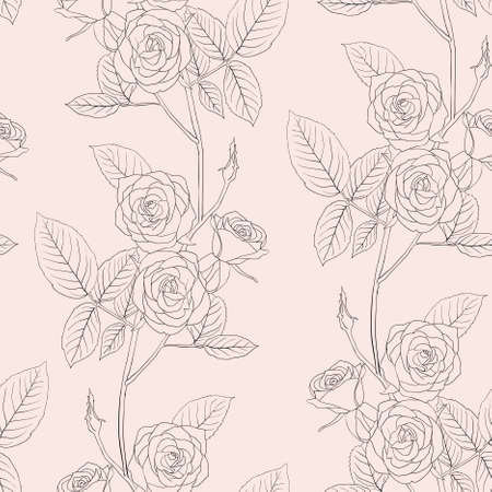 drawing on the fabric: Rose seamless flower background, vector illustration.
