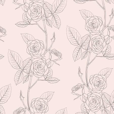 Rose seamless flower background, vector illustration. Stock Vector - 9346659