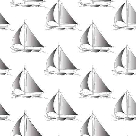 seamless wallpaper with a sailboat on the ocean waves Vector