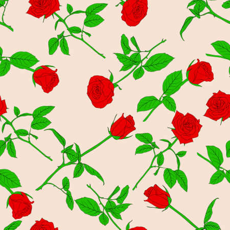 Seamless  background with roses. Could be used as seamless wallpaper, textile, wrapping paper or background Vector