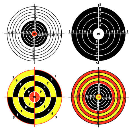 Set targets for practical pistol shooting, exercise. Stock Vector - 9485473