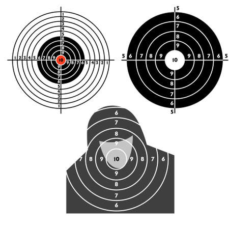 Set targets for practical pistol shooting, exercise. Stock Vector - 9485329