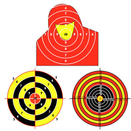 Set targets for practical pistol shooting, exercise. Stock Vector - 9485472