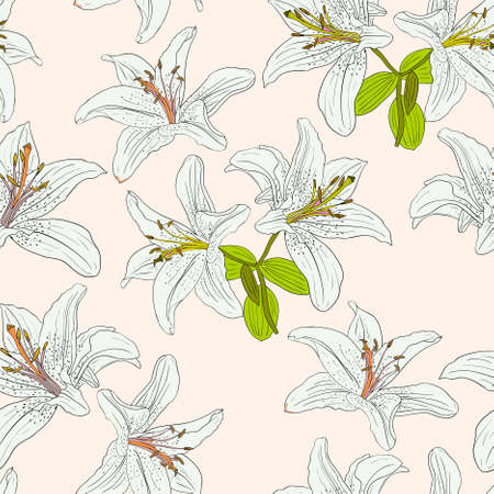 could: Seamless  background with flower lily. Could be used as seamless wallpaper, textile, wrapping paper or background