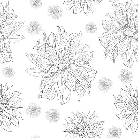 Hand drawn floral wallpaper with set of different flowers. Could be used as seamless wallpaper, textile, wrapping paper or background Stock Vector - 9485668