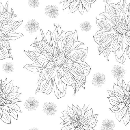 etre diff�rent: Main dessin?e papier peint ? fleurs avec un ensemble de fleurs diff?rentes. Peut ?tre utilis? comme papier peint sans soudure, textile, papier d'emballage ou d'arri?re-plan Illustration