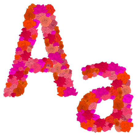 Flower alphabet of red roses, characters A-a Vector