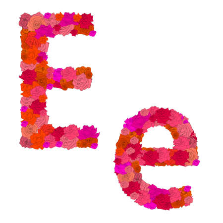 ee: Flower alphabet of red roses, characters E-e Illustration