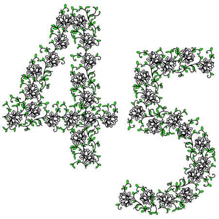 Hand drawing ornamental alphabet. Letter 45 Vector