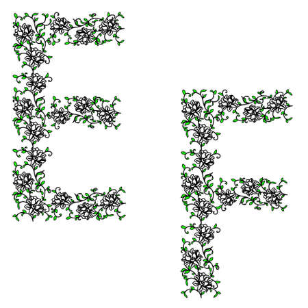 Hand drawing ornamental alphabet. Letter EF Stock Vector - 9595655