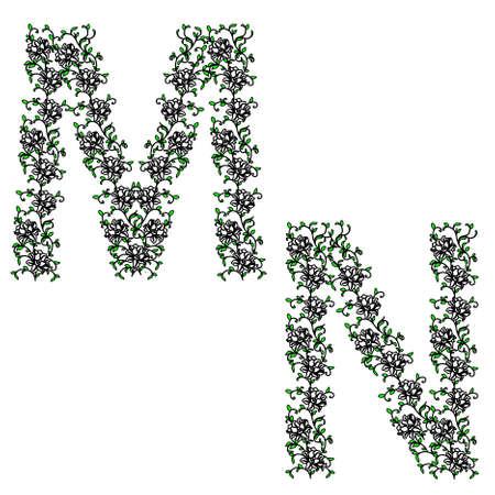Hand drawing ornamental alphabet. Letter MN Stock Vector - 9595668