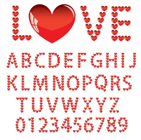 Love the alphabet with a heart  letters and numbers   Vector