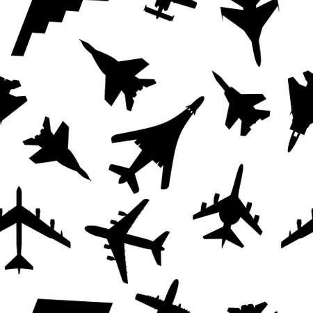 Seamless wallpaper military aircraft illustration Vector