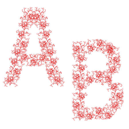 Hand drawing ornamental alphabet. Letter AB Vector