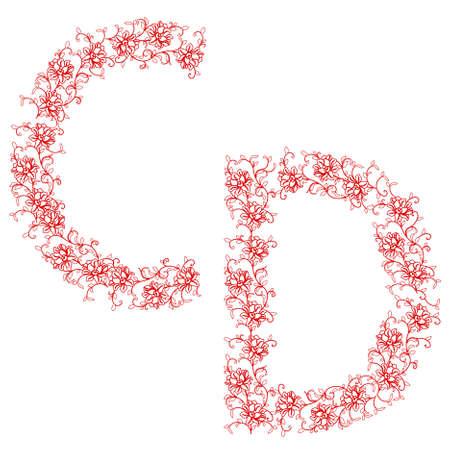 Hand drawing ornamental alphabet. Letter CD Vector