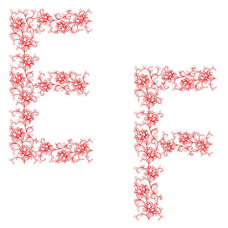 Hand drawing ornamental alphabet. Letter EF Vector