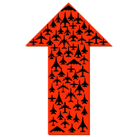 Directional arrow with the airplanes inside. Vector. Vector