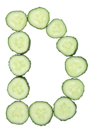 vegetable alphabet of chopped cucumber - letter d stock photo