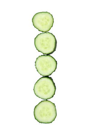 Vegetable Alphabet of chopped cucumber  - letter I Stock Photo - 9848617