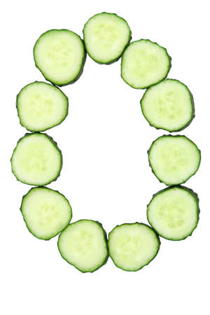 Vegetable Alphabet of chopped cucumber  - letter O Stock Photo - 9848630