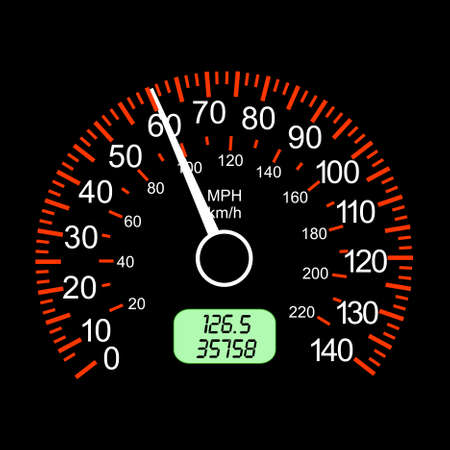 wijzerplaat: auto snelheidsmeter voor racing ontwerp. Stock Illustratie