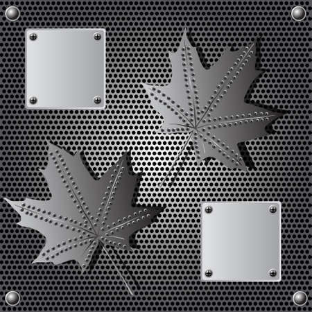 steel mesh: metal shield maple leaf  background with rivets