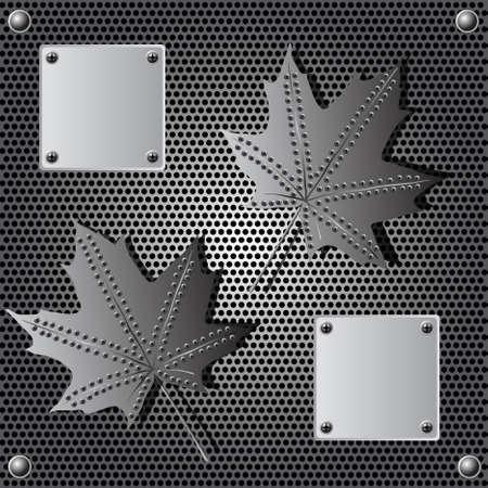 metalen schild maple leaf achtergrond met klinknagels