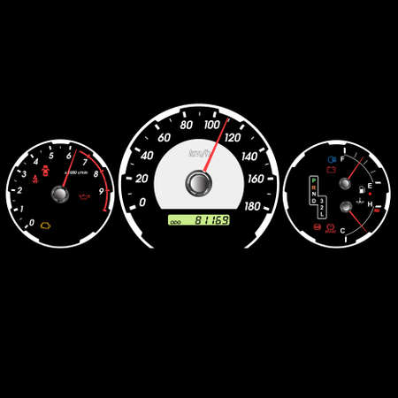 mileage: Car speedometer and dashboard at night. Vector illustration Illustration