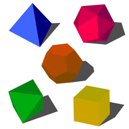 colorfull 3d vector geometric shapes Vector